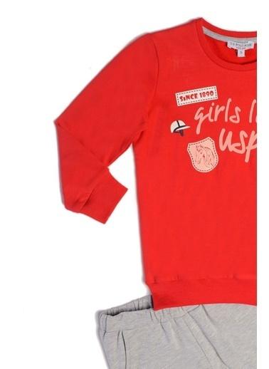 U.S. Polo Assn. Us Polo Assn Lisanslı Kız Çocuk 2'Li Takım Kırmızı Kırmızı